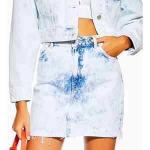 Topshop Acid Wash Bleach Denim Skirt
